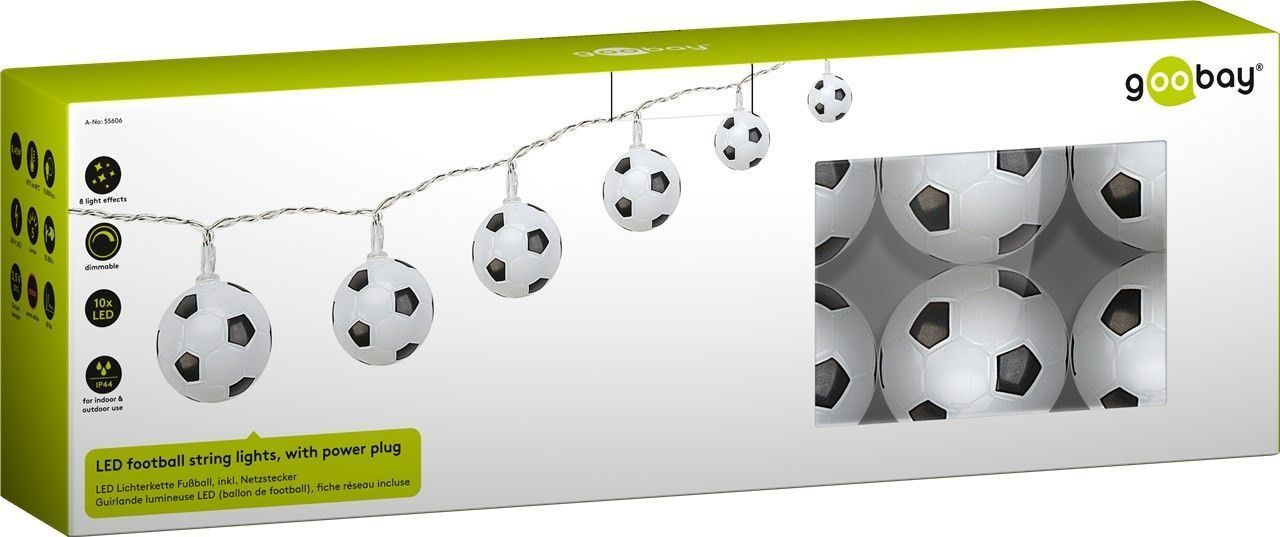 Goobay LED football string lights, with power plug